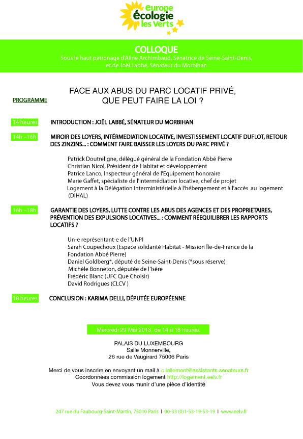 Colloque logement - Sénat 29 mai 2013